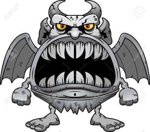 small resolution of a cartoon illustration of a gargoyle with a big mouth full of sharp teeth stock