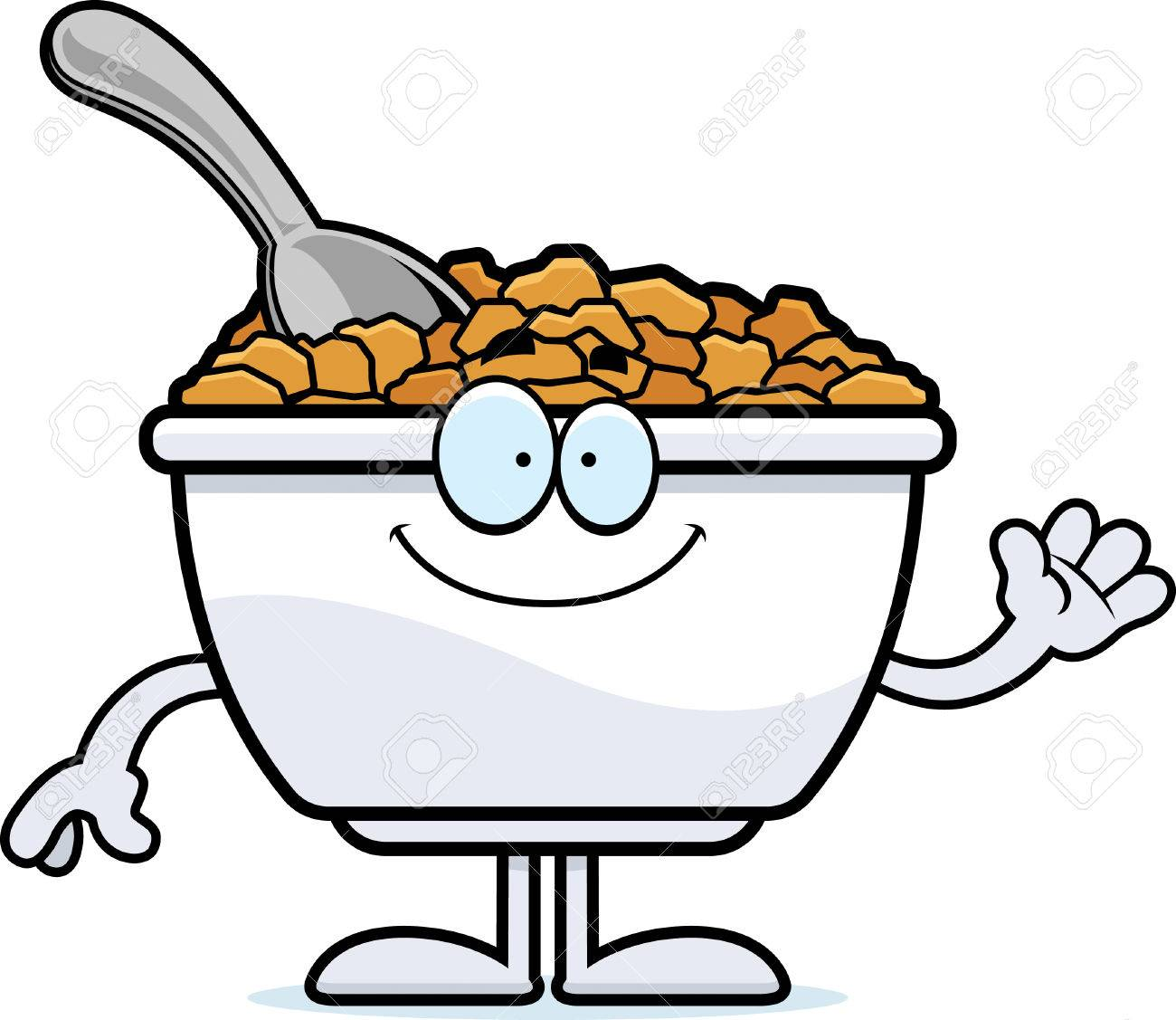 hight resolution of a cartoon illustration of a bowl of cereal waving stock vector 55004705
