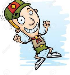 a cartoon illustration of a boy scout jumping stock vector 101954292 [ 1112 x 1300 Pixel ]