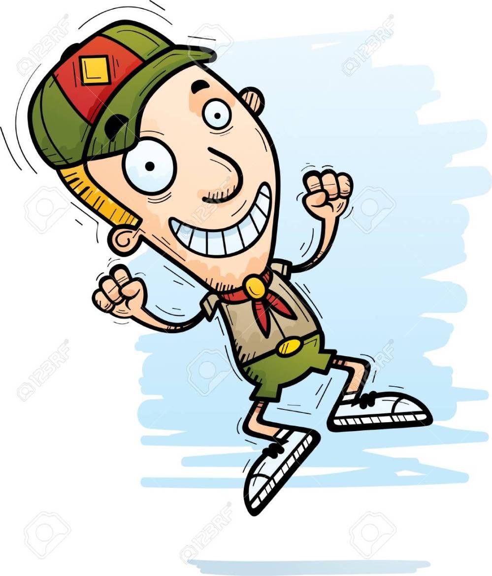 medium resolution of a cartoon illustration of a boy scout jumping stock vector 101954292
