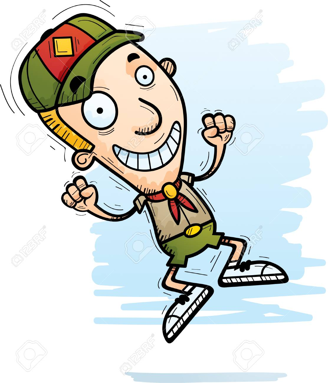 hight resolution of a cartoon illustration of a boy scout jumping stock vector 101954292