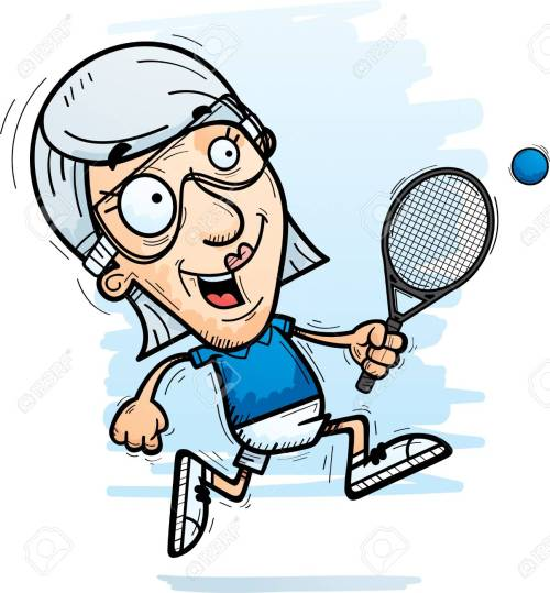 small resolution of a cartoon illustration of a senior citizen woman racquetball player running stock vector 102004822