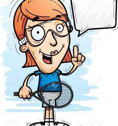 a cartoon illustration of a woman racquetball player talking stock vector 102084211 [ 1040 x 1300 Pixel ]