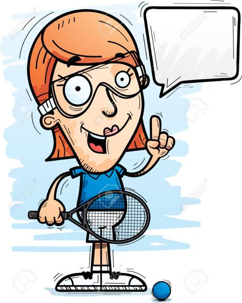 small resolution of a cartoon illustration of a woman racquetball player talking stock vector 102084211