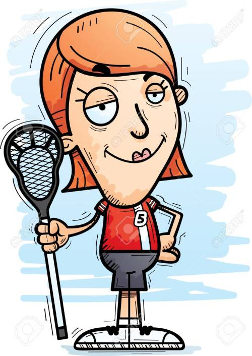 small resolution of a cartoon illustration of a woman lacrosse player looking confident stock vector 102007136