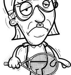 a cartoon illustration of a senior citizen woman racquetball player looking sad stock vector  [ 708 x 1300 Pixel ]
