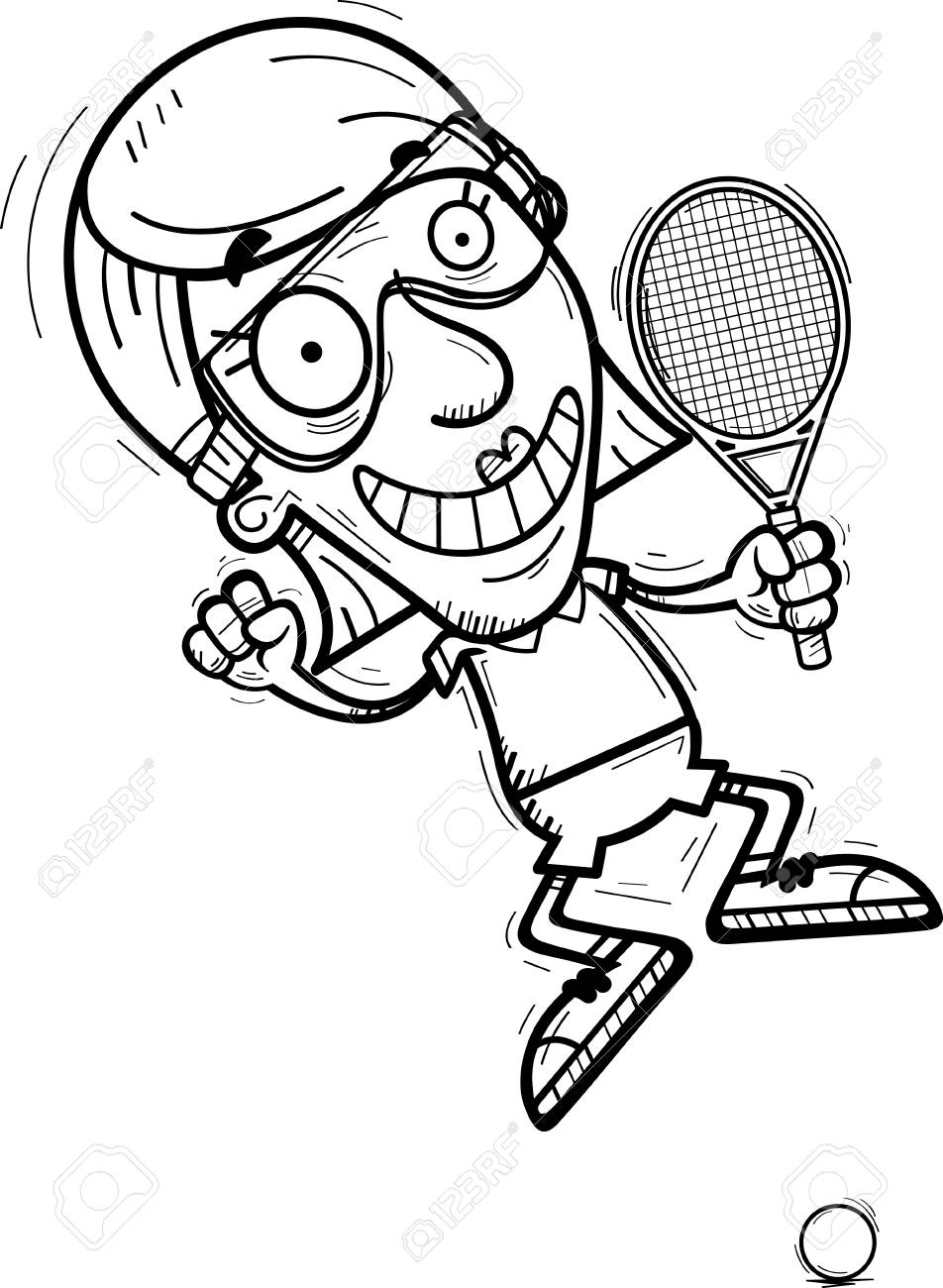hight resolution of a cartoon illustration of a senior citizen woman racquetball player jumping stock vector 102270756