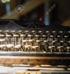 old way of writing messages vintage typewriter on the desk full of cobweb stock photo [ 1300 x 865 Pixel ]