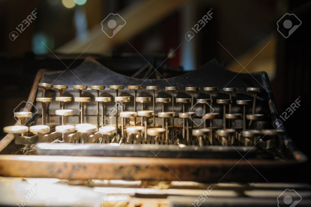 hight resolution of old way of writing messages vintage typewriter on the desk full of cobweb stock photo