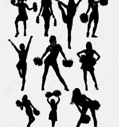 girl cheerleader pose silhouette good use for symbol logo web icon character [ 1004 x 1300 Pixel ]