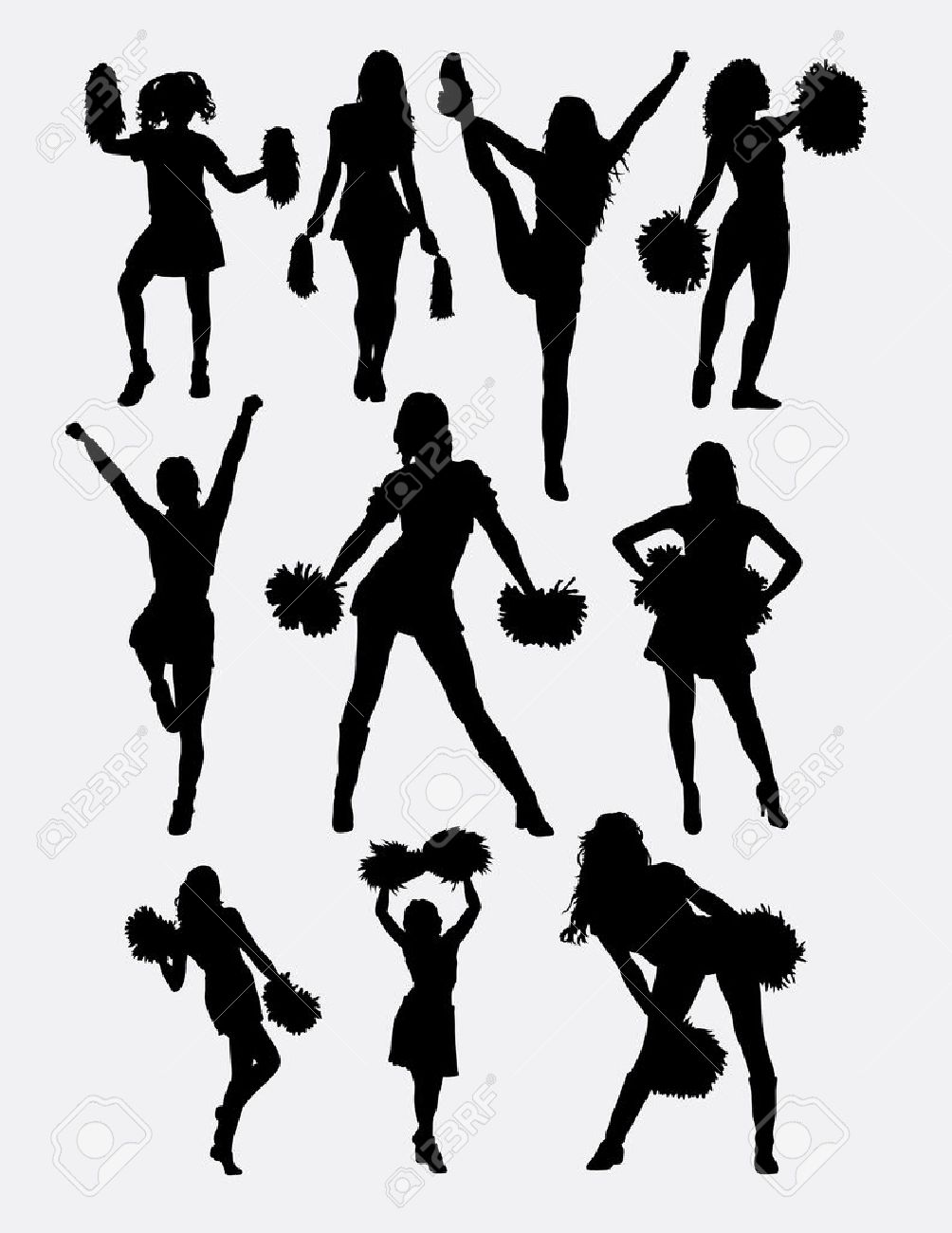 hight resolution of girl cheerleader pose silhouette good use for symbol logo web icon character