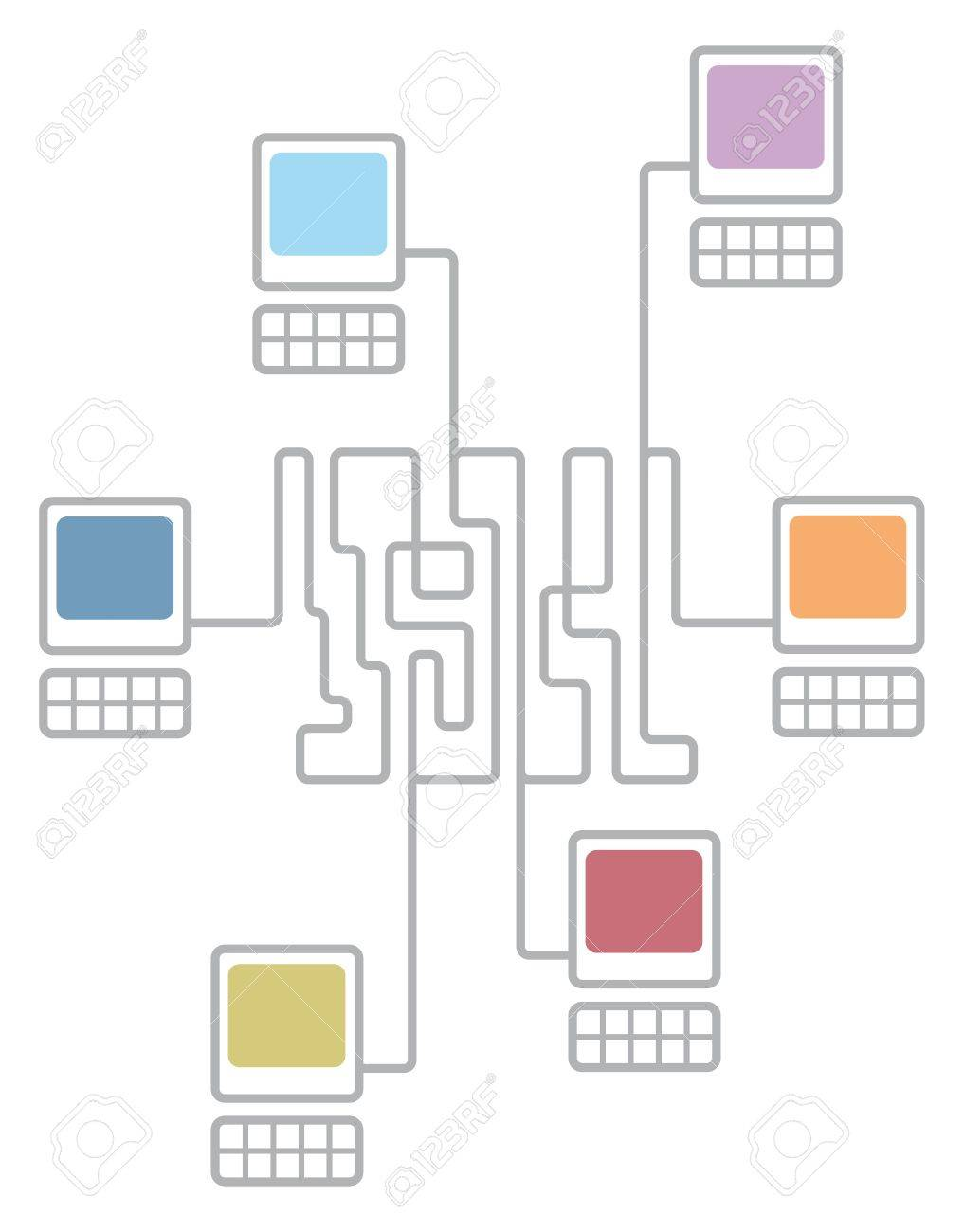 hight resolution of complex computer network connecting diagram stock vector 19177362