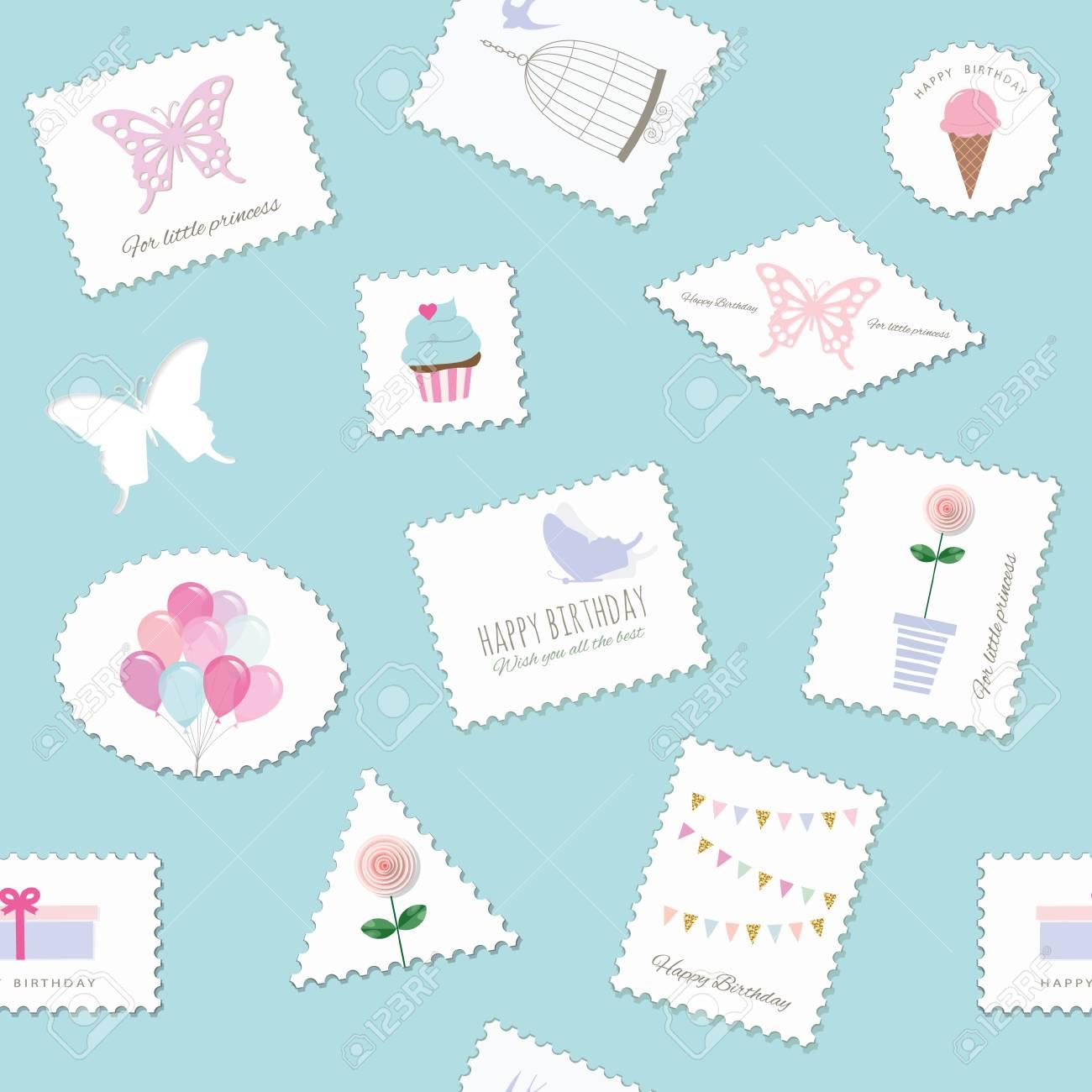birthday seamless pattern with
