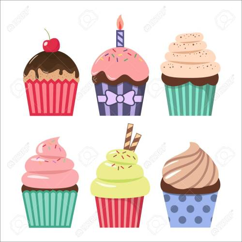 small resolution of clip art cartoon cupcake set colorful cupcakes clipart cartoons stock vector 101621188