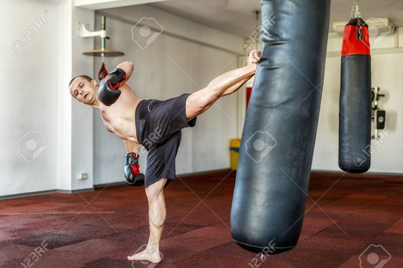 kickboxer training in the