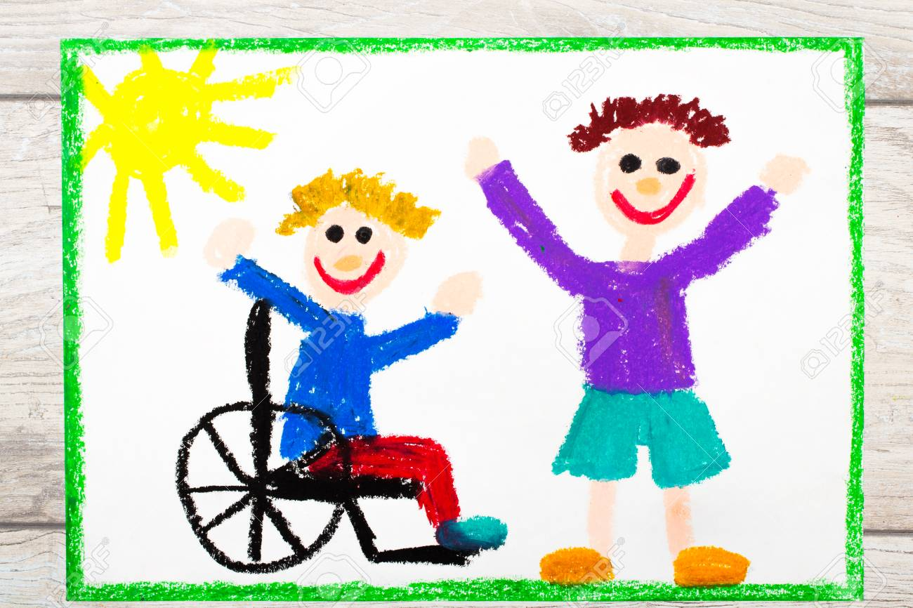 hight resolution of photo of colorful drawing smiling boy sitting on his wheelchair disabled boy with a