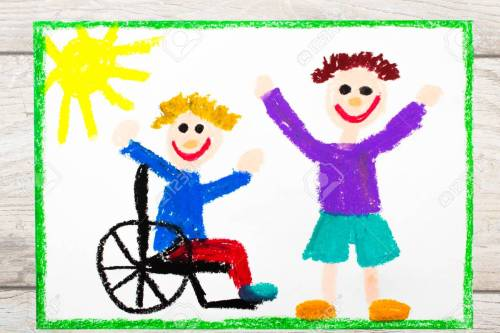 small resolution of photo of colorful drawing smiling boy sitting on his wheelchair disabled boy with a