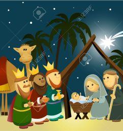 cartoon nativity scene with holy family stock vector 30680749 [ 1300 x 1045 Pixel ]