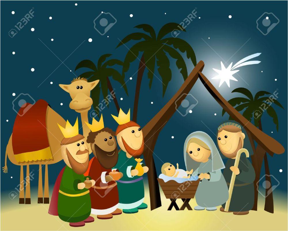 medium resolution of cartoon nativity scene with holy family stock vector 30680749