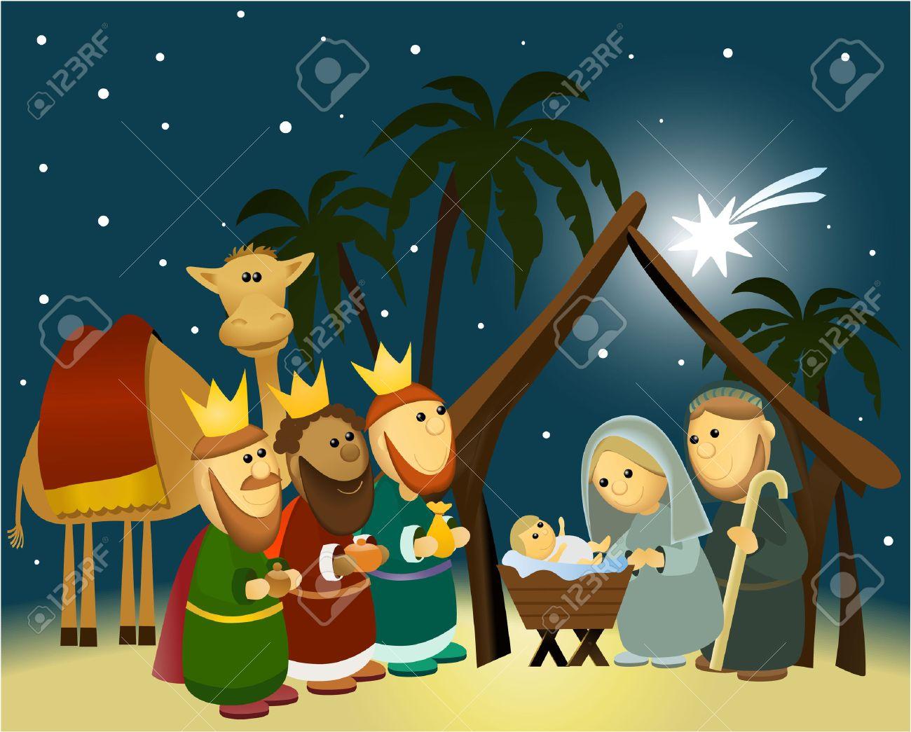 hight resolution of cartoon nativity scene with holy family stock vector 30680749