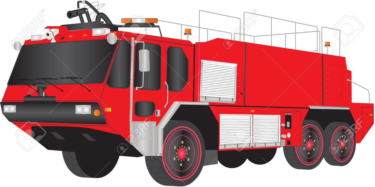hight resolution of a red airport fire truck isolated on white stock vector 19154614