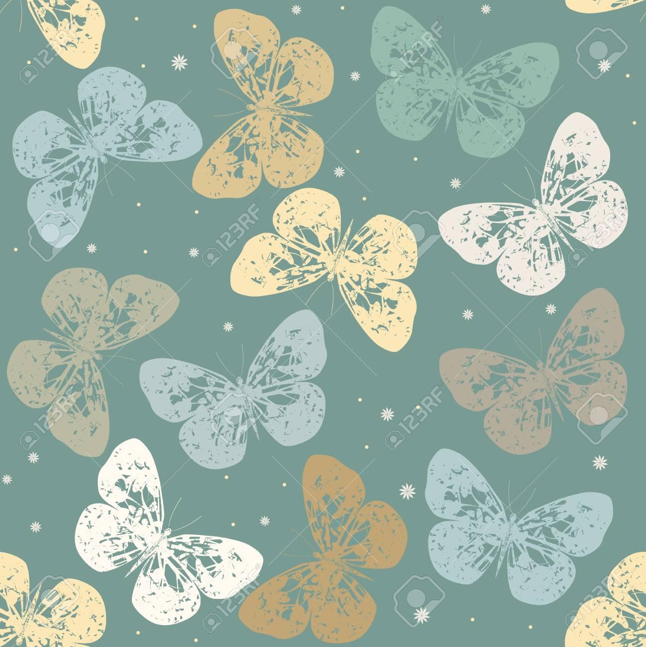 Sentitevi come se foste entrati nella pittoresca campagna con questa carta da parati personalizzata butterflies and flowers. Vettoriale Seamless Pattern Con Le Farfalle Retro Modello Puo Essere Utilizzato Per Carta Da Parati Sfondo E Tessile Image 55216302