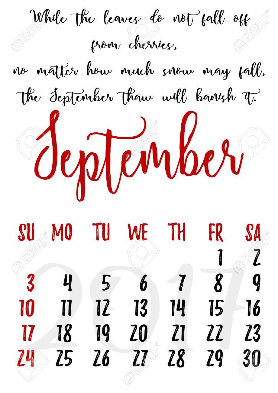 Kalender 2017 September : kalender, september, Calendar, Design, Written, Style, Russian, Proverbs,.., Royalty, Cliparts,, Vectors,, Stock, Illustration., Image, 58045474.