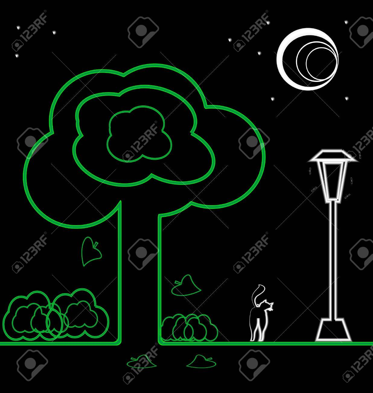shrub graphic symbols diagram cotton plant anatomy on black night landscape the moon stars trees shrubs lights