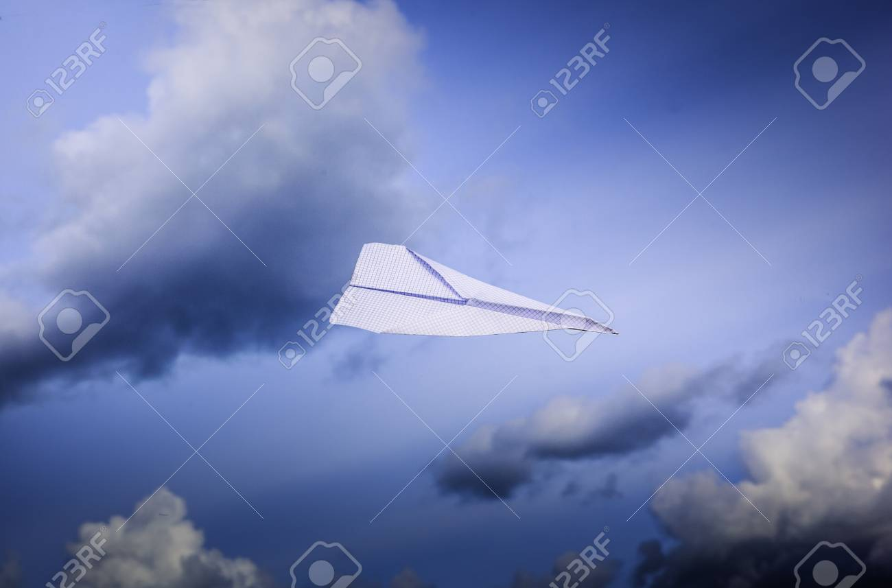 paper airplanes flying in