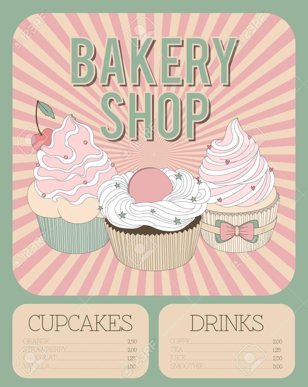 Vector Beautiful Poster In Retro Design With Delicios Cupcakes