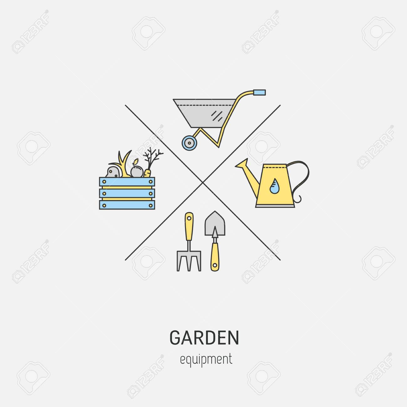 Garden Equipment Flat Line Concept Vector Logo Made In Minimalist Royalty Free Cliparts Vectors And Stock Illustration Image 70081052
