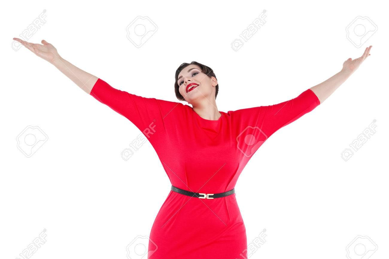 Resultado de imagen de mujer feliz en el vestido rojo imagen