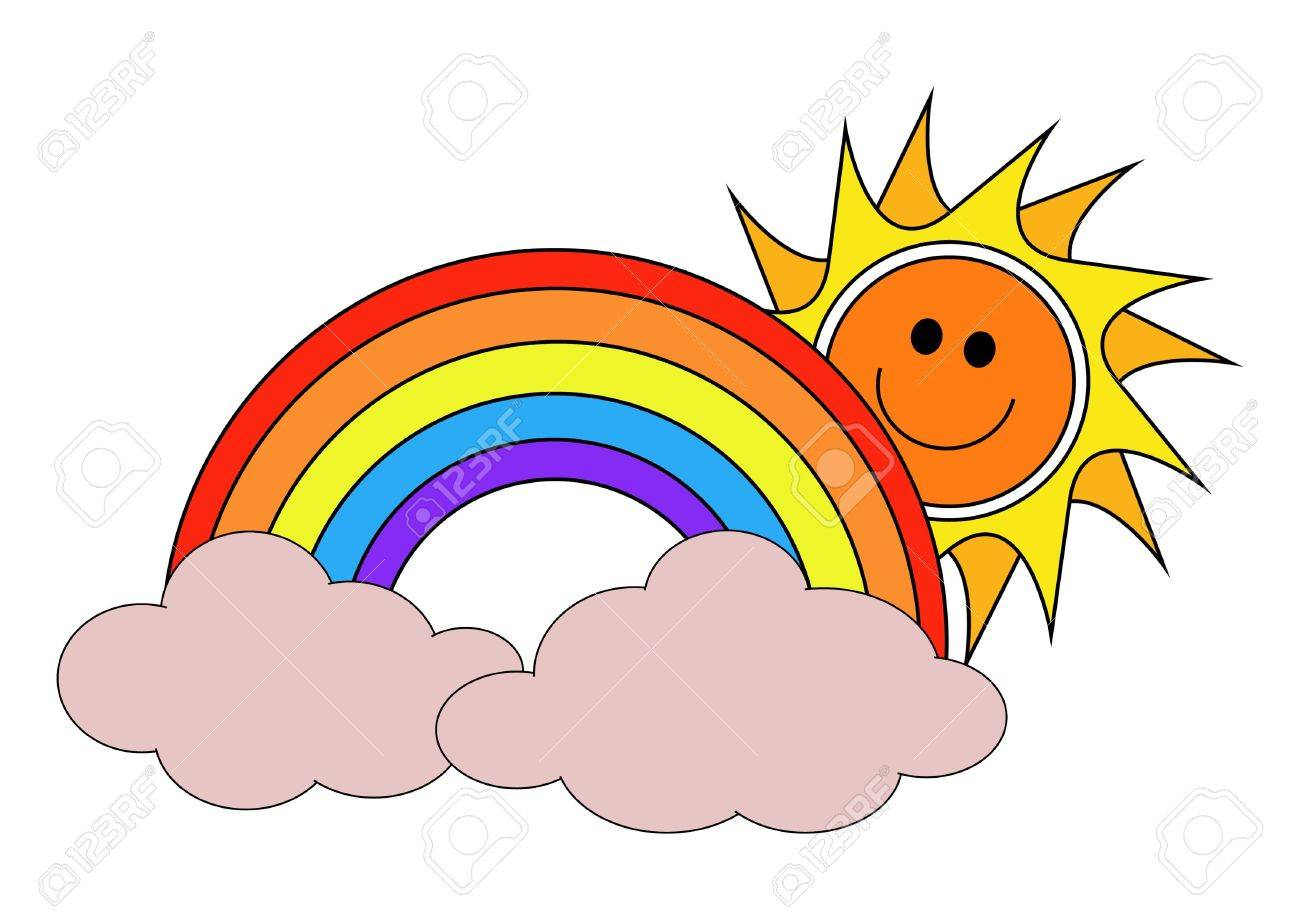 hight resolution of illustration illustration of the sun a rainbow and clouds