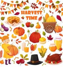 set cartoon autumn elements for happy thanskgiving party pumpkin pie baked turkey honey [ 1299 x 1300 Pixel ]