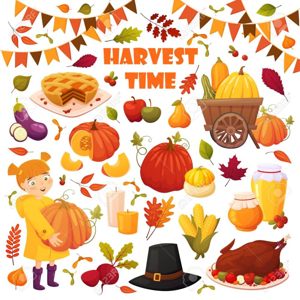 medium resolution of set cartoon autumn elements for happy thanskgiving party pumpkin pie baked turkey honey