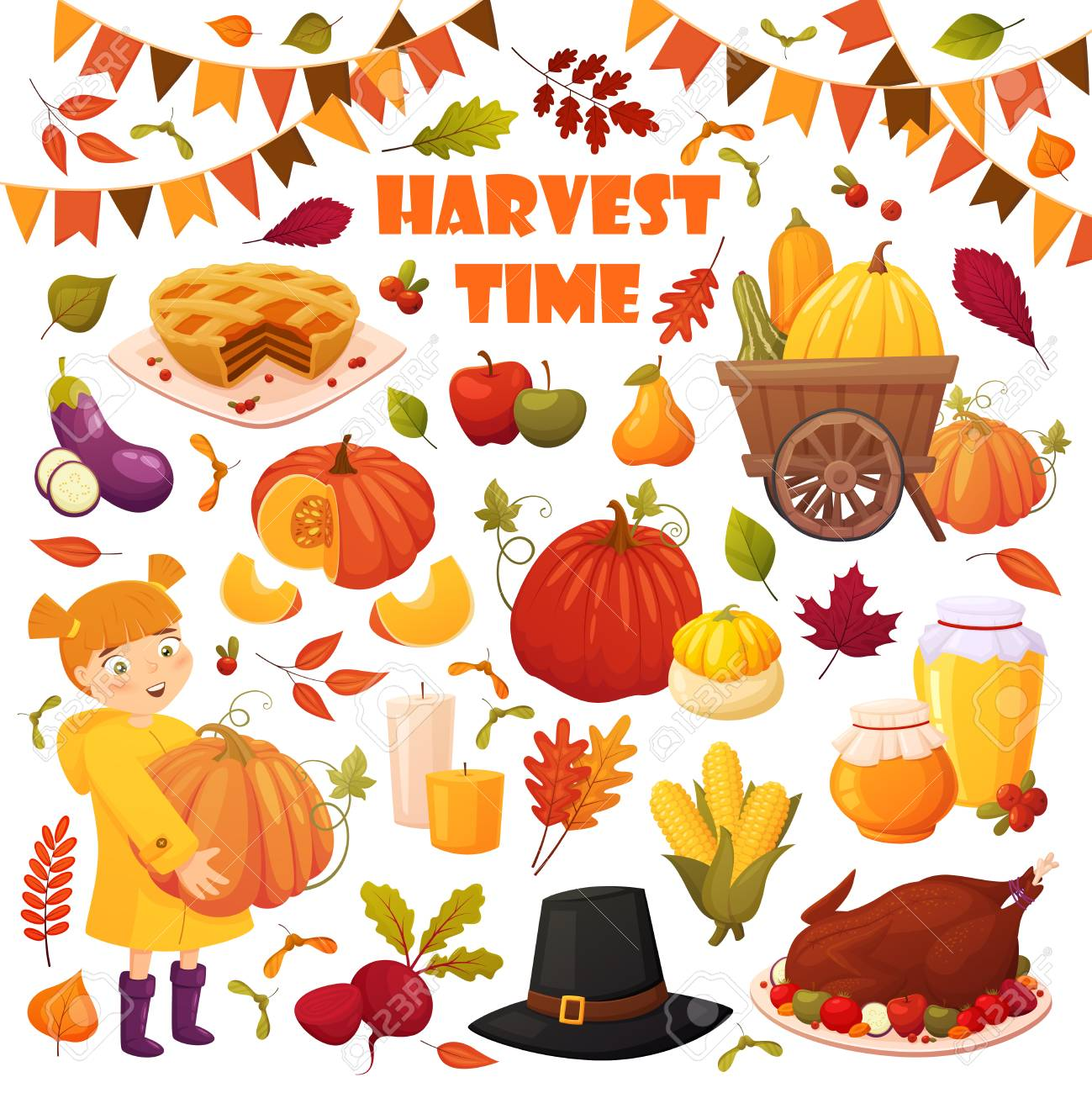 hight resolution of set cartoon autumn elements for happy thanskgiving party pumpkin pie baked turkey honey