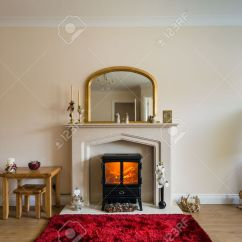 Living Room With Log Burner Table Fireplace In Modern As Central Focus