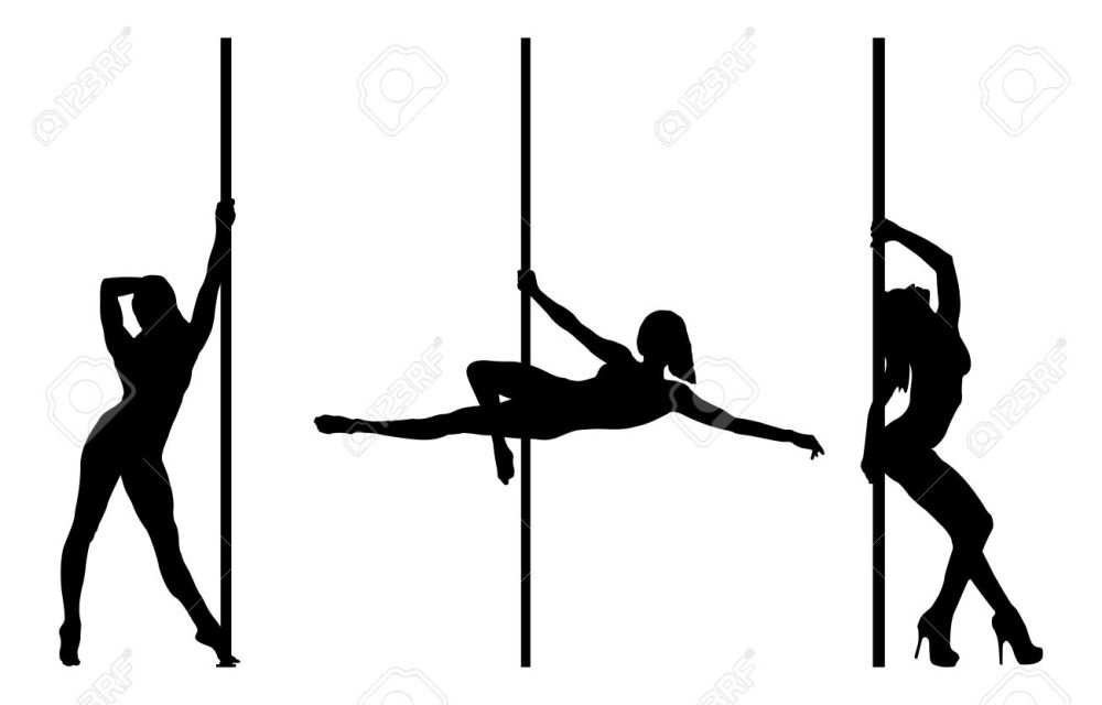 medium resolution of pole dancer silhouettes isolated on a white background illustration