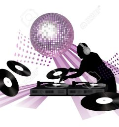 clip art with dj records turntable and shining disco ball stock vector  [ 1300 x 751 Pixel ]