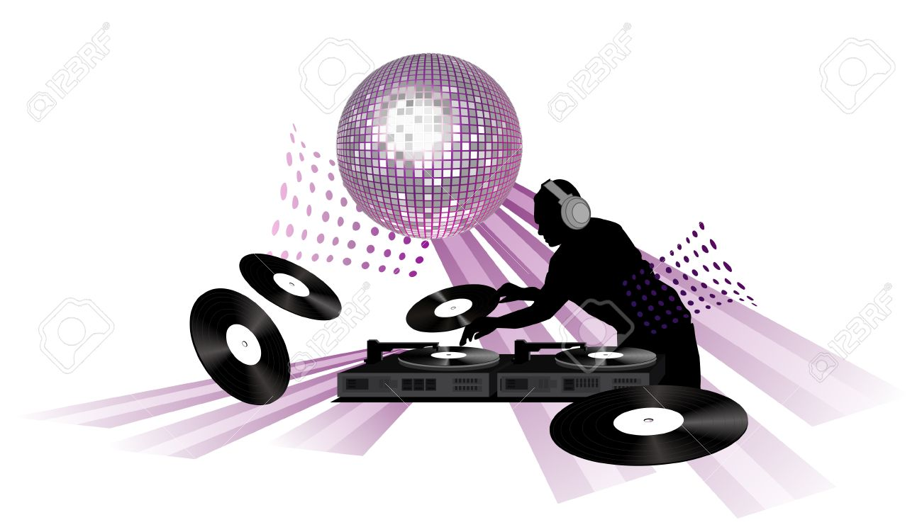 hight resolution of clip art with dj records turntable and shining disco ball stock vector