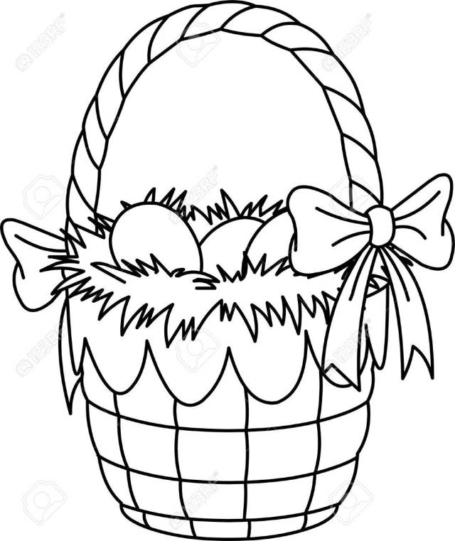 Pretty Easter Basket Coloring Page Royalty Free Cliparts, Vectors