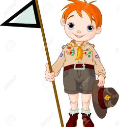 vector young happy boy scout holding a flag [ 1173 x 1300 Pixel ]