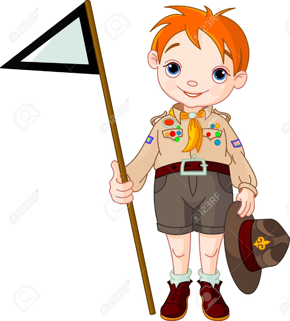 hight resolution of vector young happy boy scout holding a flag