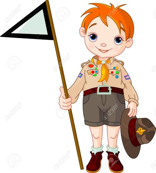 small resolution of vector young happy boy scout holding a flag