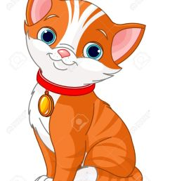 illustration of cute cat wearing a red collar with gold tag stock vector 13708512 [ 1009 x 1300 Pixel ]