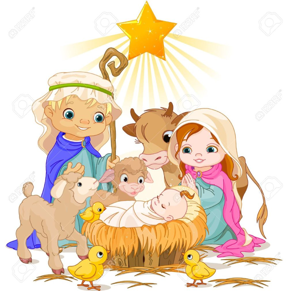 medium resolution of christmas nativity scene with holy family stock vector 23644397