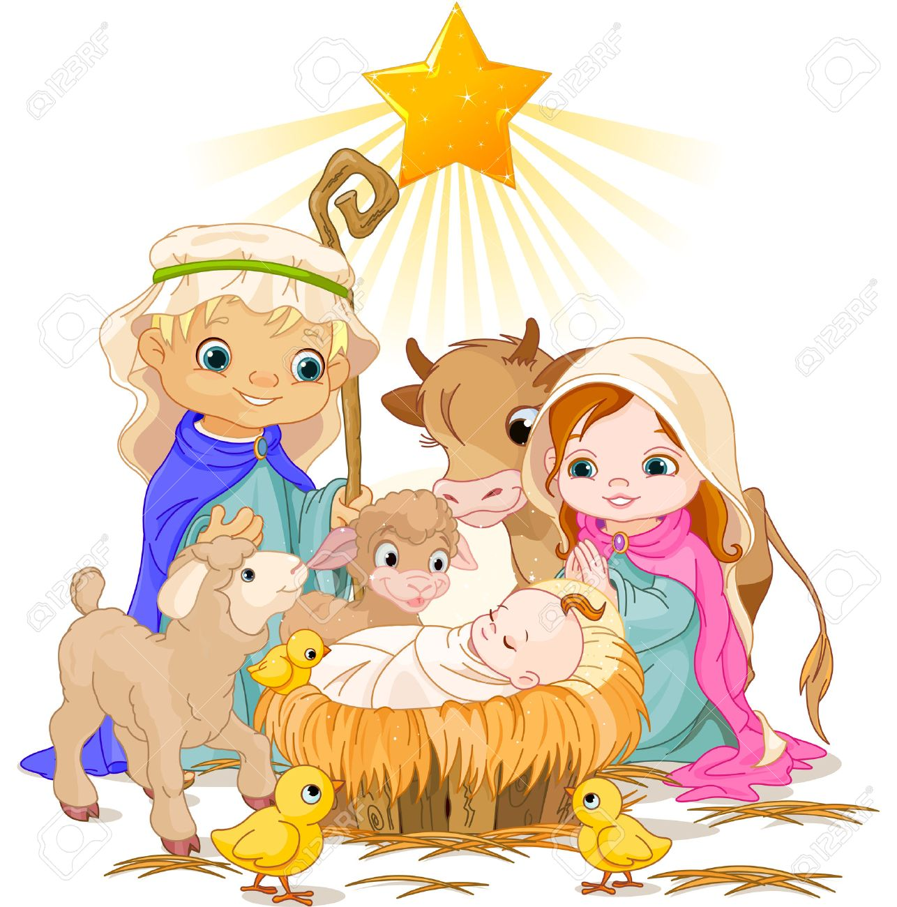hight resolution of christmas nativity scene with holy family stock vector 23644397