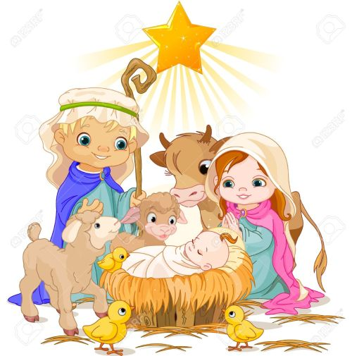 small resolution of christmas nativity scene with holy family stock vector 23644397