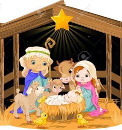 christmas nativity scene with holy family stock vector 24155176 [ 1300 x 1077 Pixel ]
