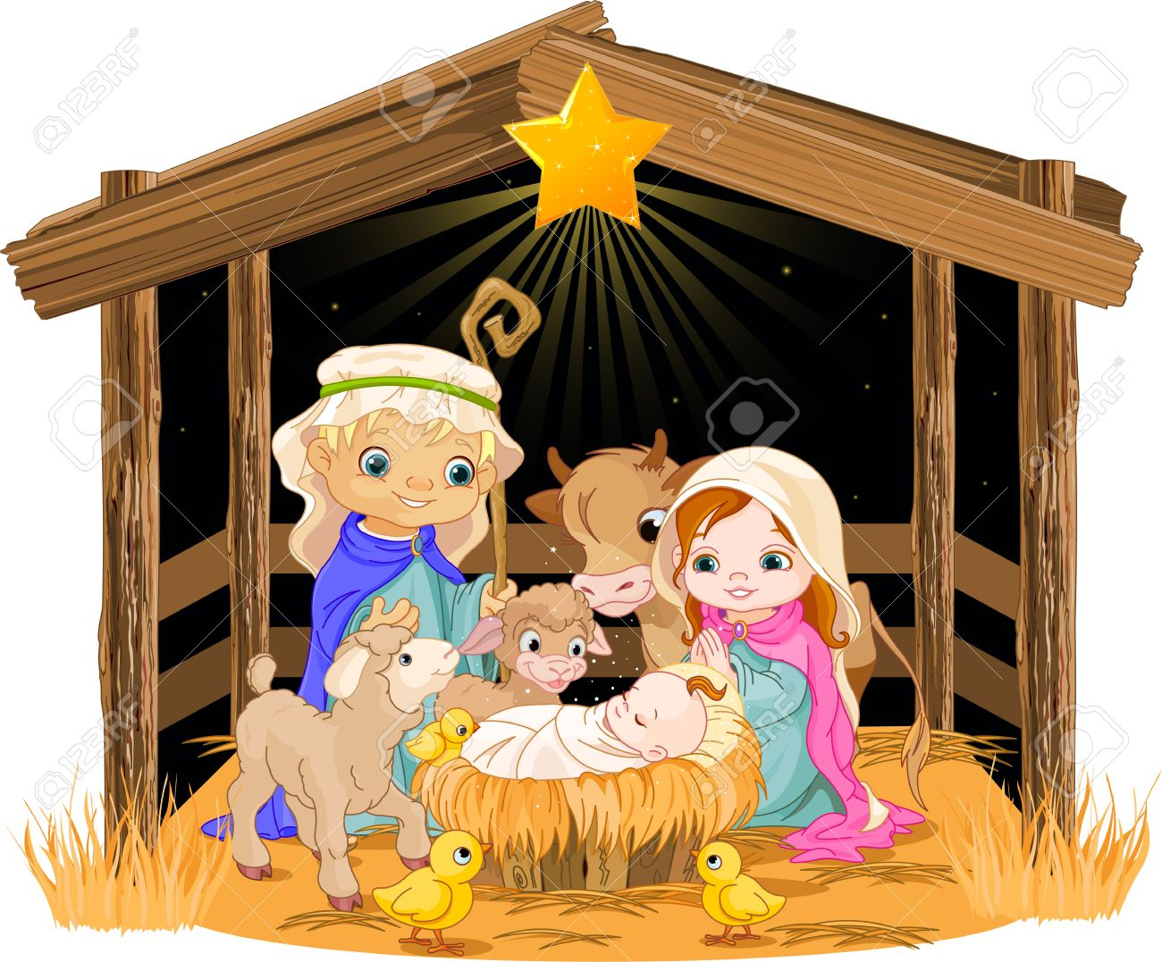 hight resolution of christmas nativity scene with holy family stock vector 24155176